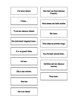 Teaching Resources. French - English Matching Cards: conjugation of avoir.
