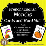 French / English Months and Seasons Flashcards and Word Wall