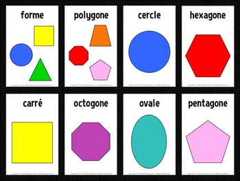 French / English Shapes Flashcards and Word Wall