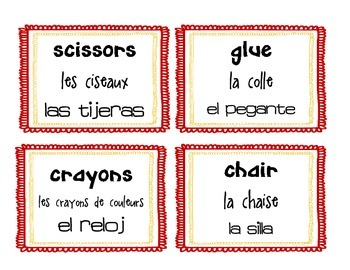 French, English, Spanish Classroom Labels