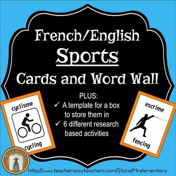 French / English Sports Flashcards and Word Wall
