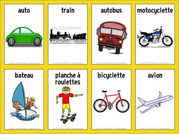 French English Transportation Flashcards And Word Wall