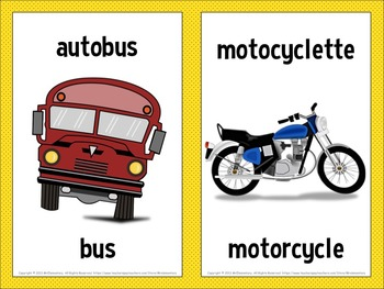 image relating to Printable French Flashcards titled French / English Transport Flashcards and Term Wall