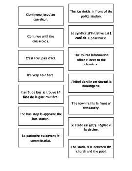 Teaching Resources: French - English Cards: Prepositions, Directions & Places.