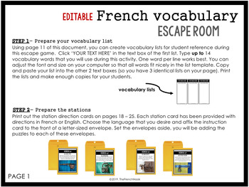French Escape Room EDITABLE for ANY vocabulary list