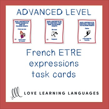 French Être Expressions Task Cards - Advanced Level