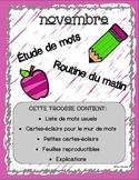 French- Étude de mots- novembre