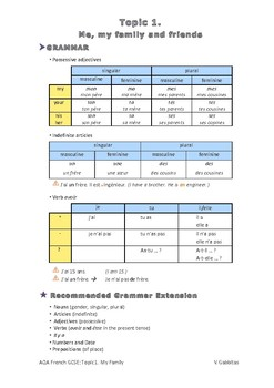 French Exam Topic Introduce Myself 1: My family, Vocabulary Sheet (mp3 separate)