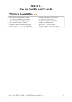 French Exam Topic Introduce Myself 2: Appearance Vocabulary Sheet (mp3 separate)