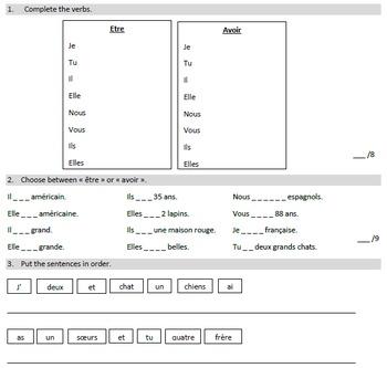 French Exam - Verbes Avoir et Etre + verbe en ER + negativ
