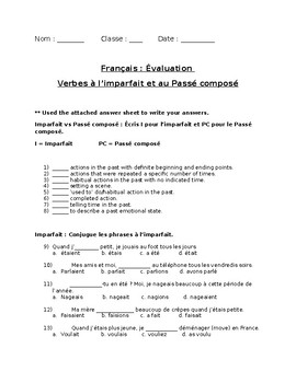 French Exam: Vocabulary, Imperfect & Perfect Tense