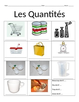 French Expressions of Quantity Vocabulary Notes