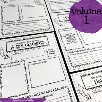 French Expressions of the Week: Vocab Organizers Vol 1 & 2 BUNDLE (Full sheet)