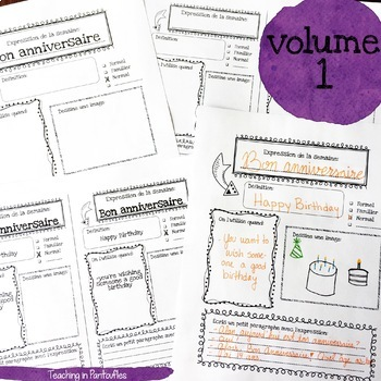 French Expressions of the Week: Vocab Organizers Vol 1 & 2 BUNDLE (Half sheet)