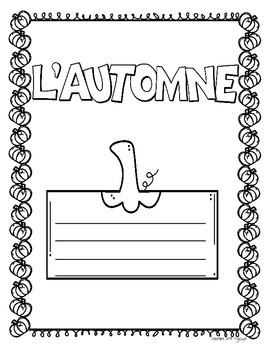 French FALL Writing Activity