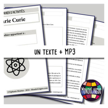Activity book in French/FFL/FSL about Marie Curie - MP3 included