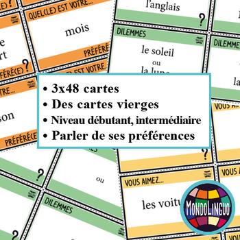 French/FFL/FSL - BUNDLE - 3 Icebreakers - Préférences