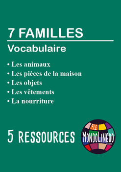 French/FFL/FSL - BUNDLE -  5 games - 7 families vocabulary