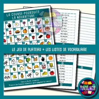 Board game to teach French/FFL/FSL - Course-Poursuite - Nourriture/Food