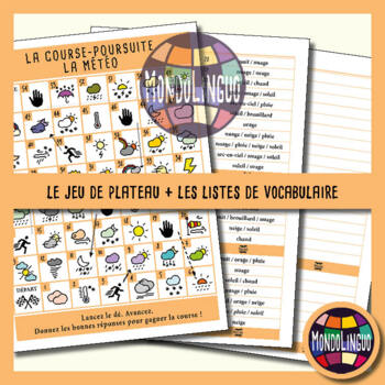 Board game to teach French/FFL/FSL - Course-Poursuite - Météo/Weather