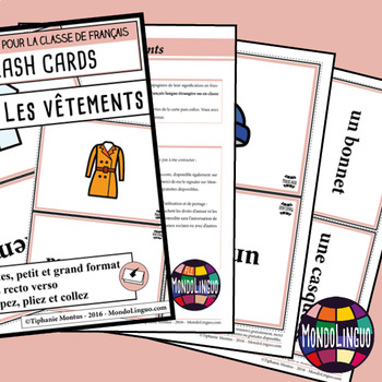 Flashcards in French/FFL/FSL: Vêtements/Clothing