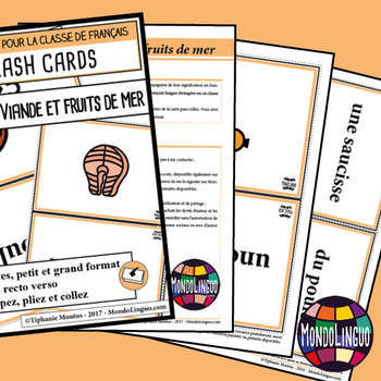 Flashcards in French/FFL/FSL: Viande et fruits de mer/Meat and seafood