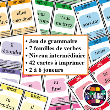 Card game to teach French/FFL/FSL: 7 familles - Verbs 3 - Futur