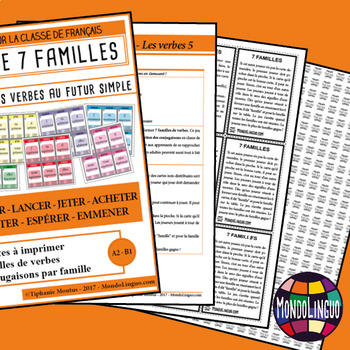 Card game to teach French/FFL/FSL: 7 familles - Verbs 5 - Futur