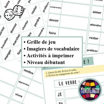 Dice game to teach French/FFL/FSL: Verbes/Verbs