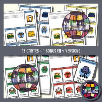 Card game to teach French/FFL/FSL: Bonne pioche - Meubles/Furniture