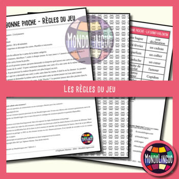 Card game to teach French/FFL/FSL: Bonne pioche - St-Valentin/Valentine's Day