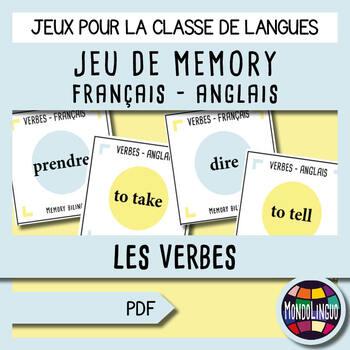Memory game to teach French/FFL/FSL: Bilingual (English-French), Verbs