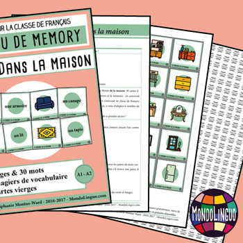 Memory Game to teach French/FFL/FSL: Dans la maison/Households