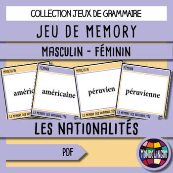 Memory Game to teach French/FFL/FSL: Nationalités/Nationalities