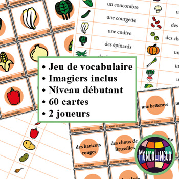 Memory Game to teach French/FFL/FSL: Légumes/Vegetables