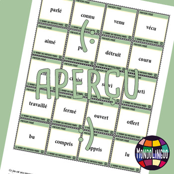 Memory Game to teach French/FFL/FSL: Participes passés/Verbs