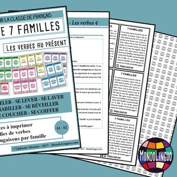 Card game to teach French/FFL/FSL: 7 familles - Verbs 4 - Présent
