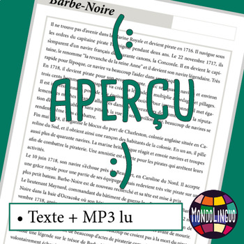 Activity book in French/FFL/FSL about Barbe Noire - MP3 included