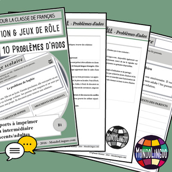 Role playing situations in French/FFL/FSL: Problèmes d'ados/Teenagers Problems