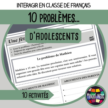 Role playing situations in French/FFL/FSL: Problèmes d'ado