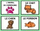 """French/FSL Vocabulary Cards for the theme """"Pets""""/Les Animaux de Compagnie"""