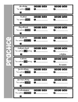 """French FUTUR SIMPLE """"cheat sheet""""--intermediate-low with practice ex."""