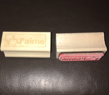 French Facebook J'aime Rubber Stamp