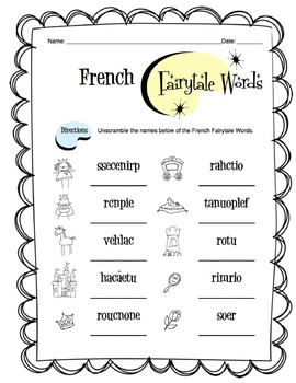 French Fairytale Words Worksheet Packet
