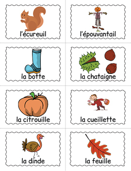French Fall Bingo Game - French Fall Vocabulary