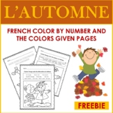 French Fall Color By Number and By The Colors Given: L'Aut