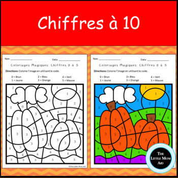French Fall Color By Numbers to 10 | Coloriages Magiques d'Automne Chiffres à 10