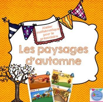 French Fall Math Center/ Paysages d'automne {Préscolaire}