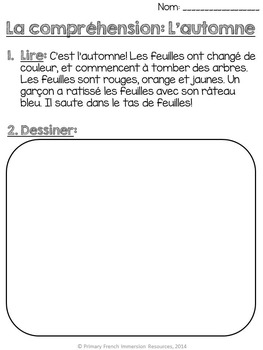 French – Fall Reading Comprehension Worksheets - La compréhension - L'automne