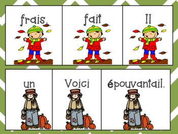 French Fall Vocabulary + Scrambled sentences & matching visuals - L'automne